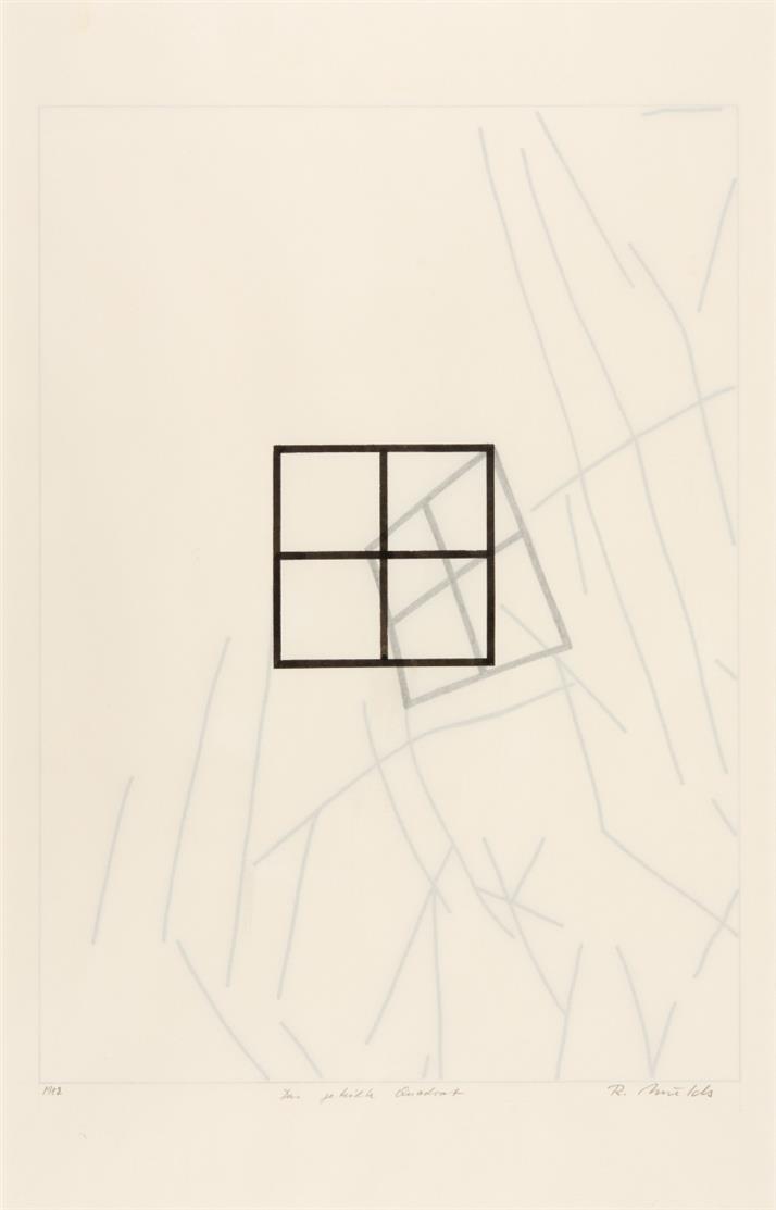 Rune Mields. Das geteilte Quadrat. 1982. Tusche und Bleistift. Signiert.