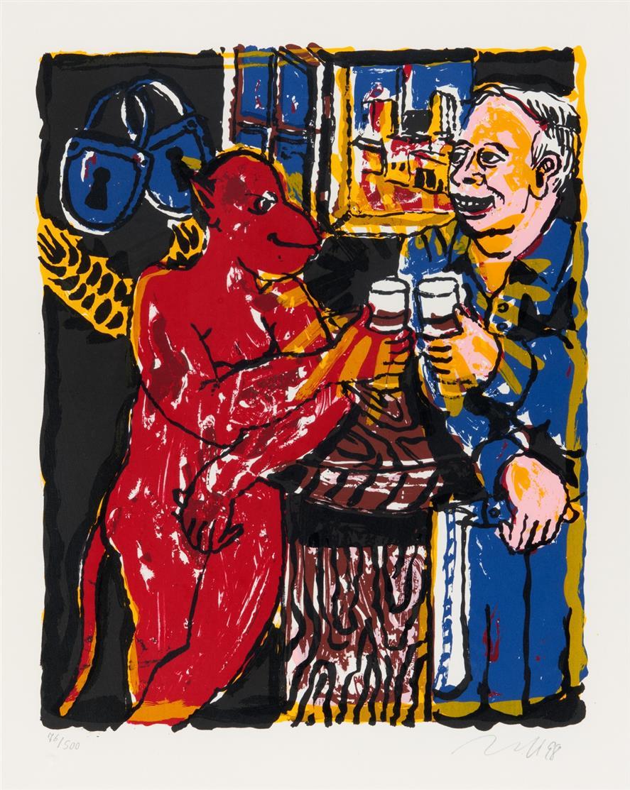 Jörg Immendorff. Schlösser (Trinkeraffe). 1998. Farbserigraphie. Signiert. Ex. 76/500. Reifenscheid 1998.12.