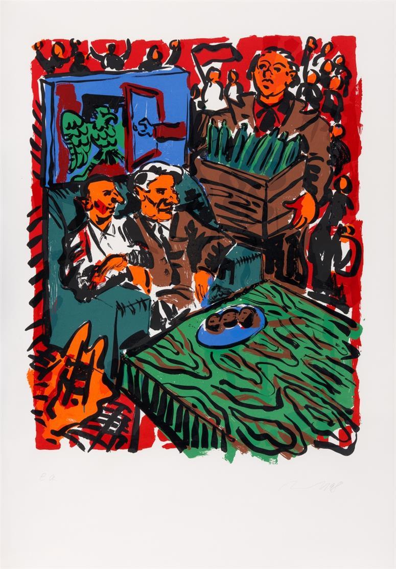 Jörg Immendorff. 3. Oktober 90. 1998. Farbserigraphie. Signiert. Ex. e.a. Reifenscheid 1998.11.