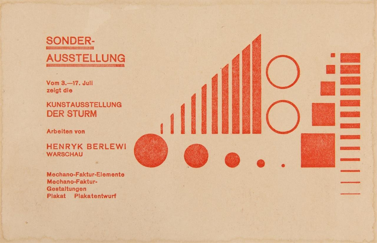 Der Sturm. - 2 Einladungskarten, 1924: Sonderausstellung 3.-17. Juli (Berlewi) / Kunstausstellung 5. Okt. (Peri u.a.).