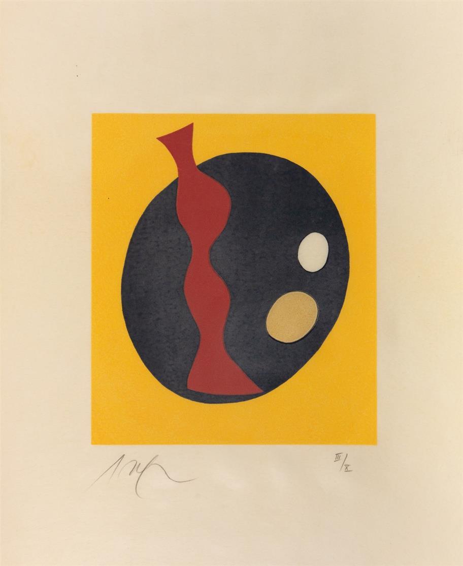 Hans Arp. Le soleil recerclé. Paris 1966. Suite von 15 Farbholzschnitten. - Ex. III/X (auf Pergament).