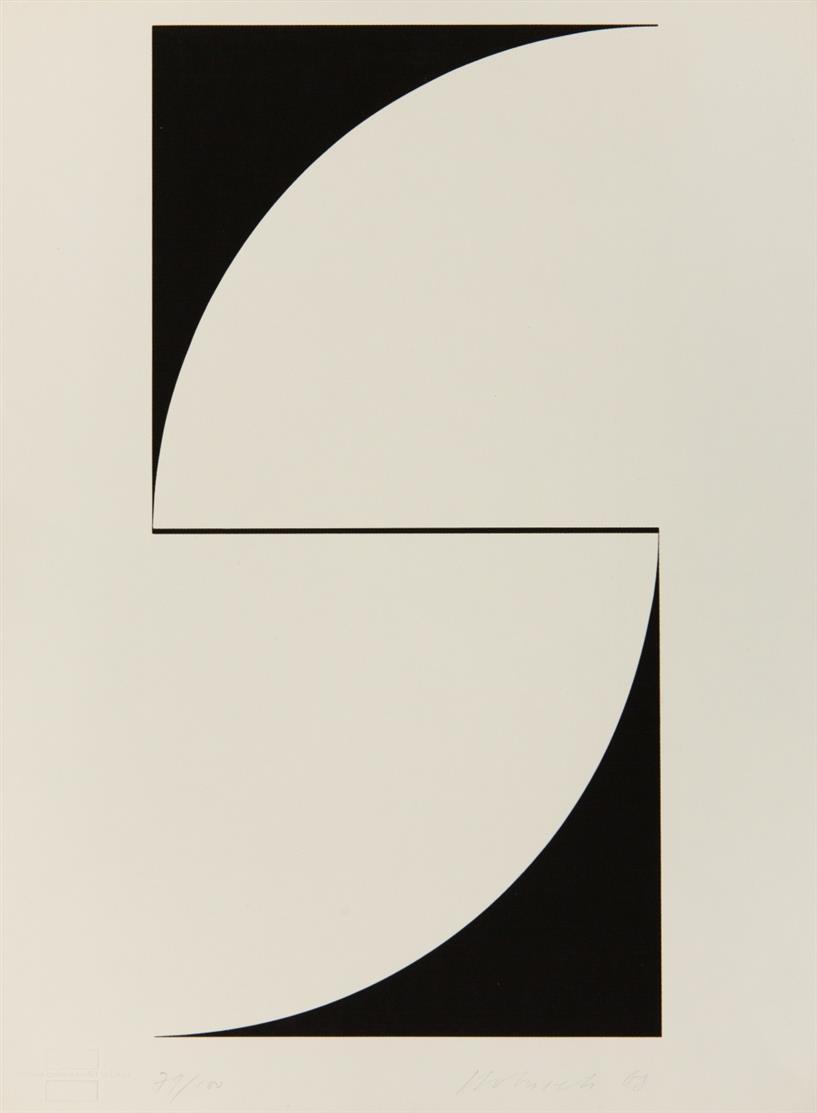 Imre Kocsis. Ohne Titel. 1969. Serigraphie. Signiert. Ex. 67/100. + Beilage: Attila Kovacs / Milos Urbasek. 2 Blatt Serigraphien. Je signiert. Ex. 23/100 bzw. 71/100.