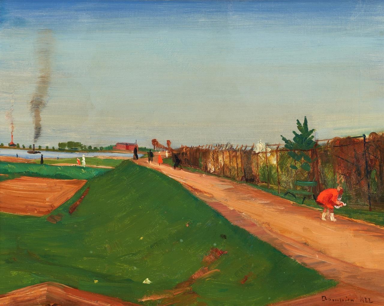 Theo Champion. Landschaft. 1922. Öl auf Leinwand. Signiert.