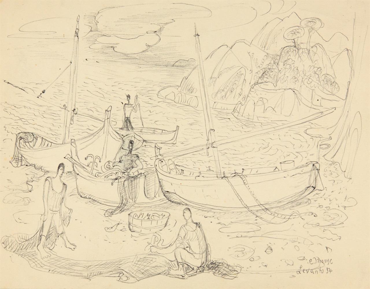 Carlo Mense. Levanto. 1954. 9 Blatt Kugelschreiber bzw. Bleistift. Jeweils signiert, datiert und bezeichnet.