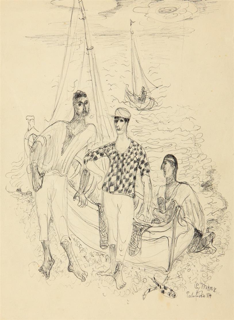 Carlo Mense. Portofino / Porto Venere / Ohne Titel (Straßenszene). 1954. 3 Blatt Kugelschreiber. Jeweils signiert, datiert, teils bezeichnet.