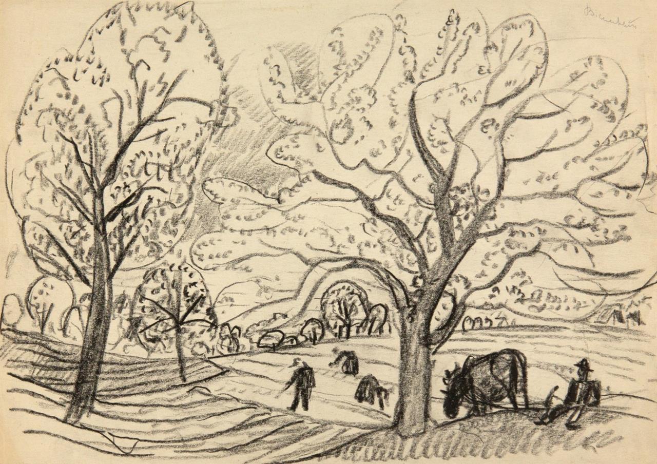 Carlo Mense. Ohne Titel (Badende) / Ohne Titel (Landschaft mit Bäumen und Feldarbeitern). 2 Blatt Kohle. Nicht signiert.