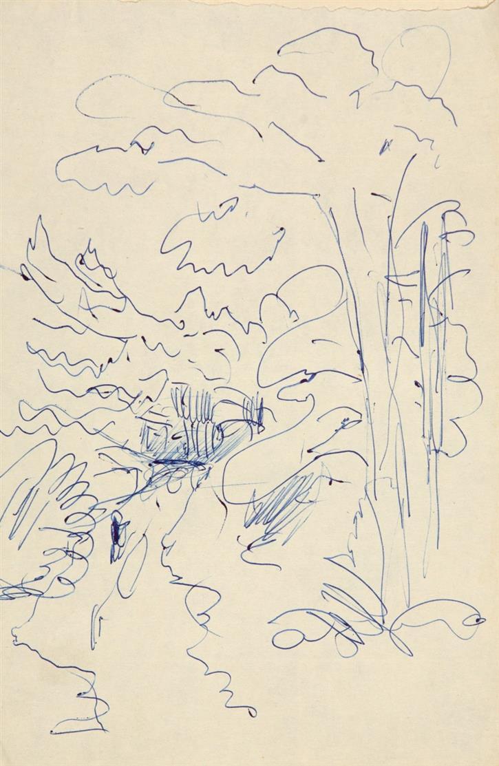 Carlo Mense. Sammlung von 16 Blatt Skizzen (überwiegend Landschaften) in Kugelschreiber, Kreide bzw. Bleistift, einige beidseitig. Ein Blatt monogrammiert, die übrigen nicht sign.