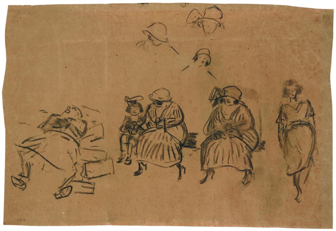 Heinrich Zille. Ohne Titel (Figurenstudien im Park). Kohle. Verso mit Signaturstempel.
