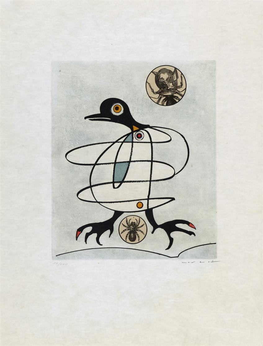Max Ernst. Aus: Oiseaux en péril. 1975. Farbradierung und Collage auf Japan. Signiert. Ex. 19/100.