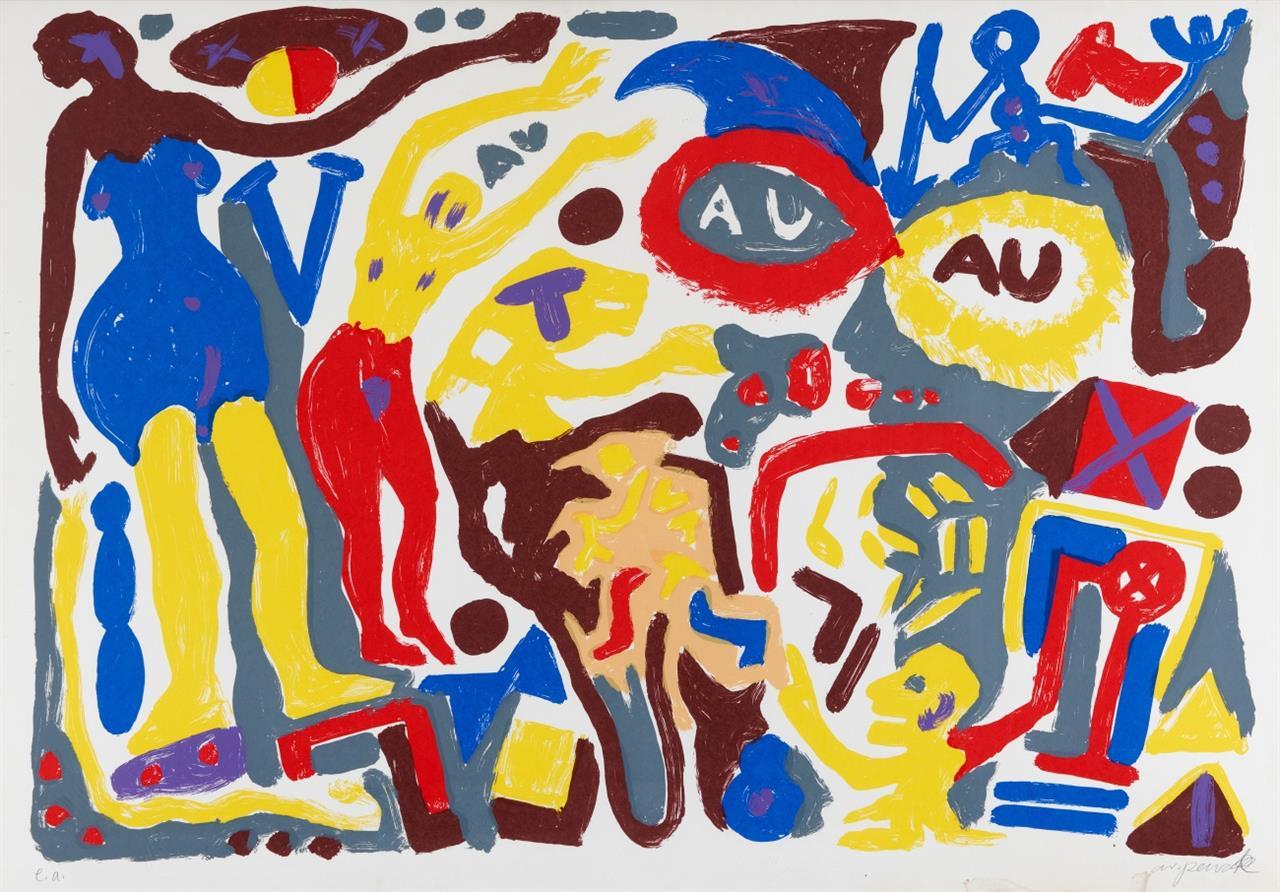 A.R. Penck. Ohne Titel. Farbserigraphie. Signiert. Ex. e.a.