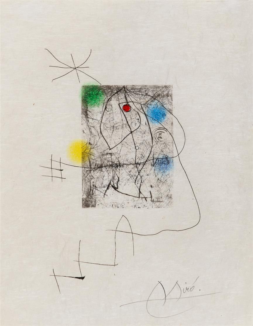 Joan Miró. Aus: El Innocente (Xavier Domingo). 1974. Farbaquatintaradierung. Signiert. Dupin 684.