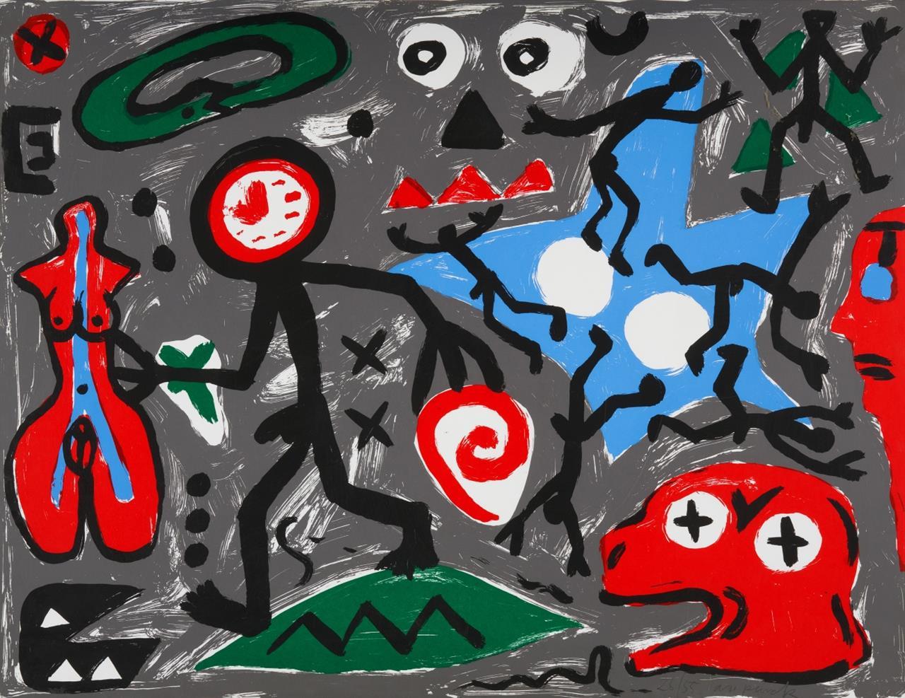 A.R. Penck. Ohne Titel. Farbserigraphie. Signiert. Ex. 26/55.