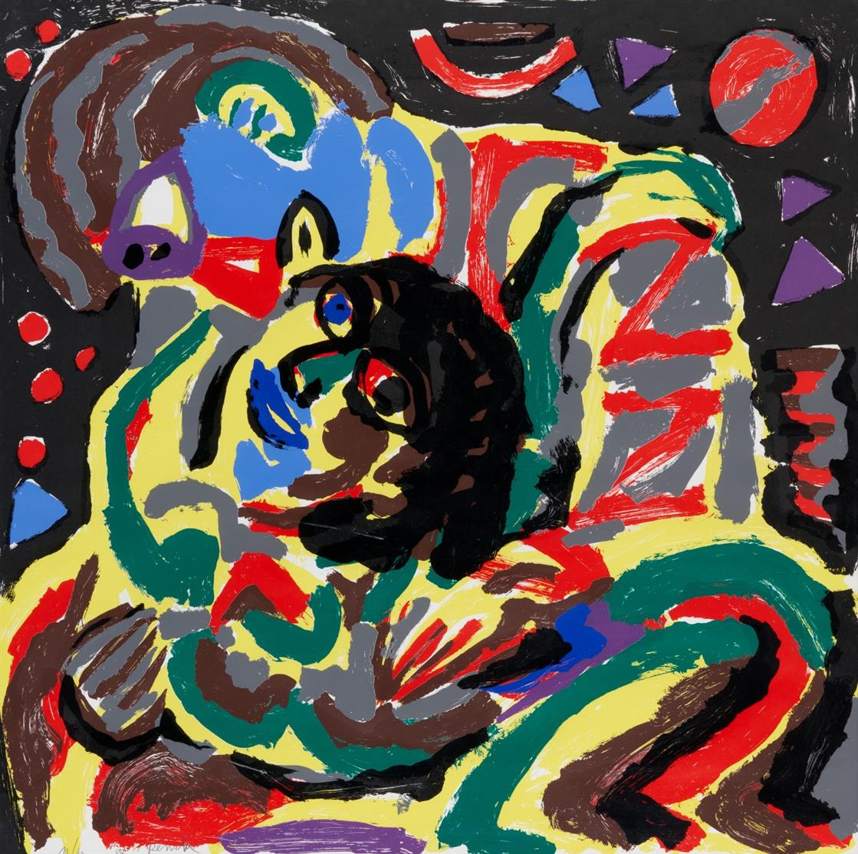 A.R. Penck. Ohne Titel. Farbserigraphie. Signiert. Ex. 10/60.