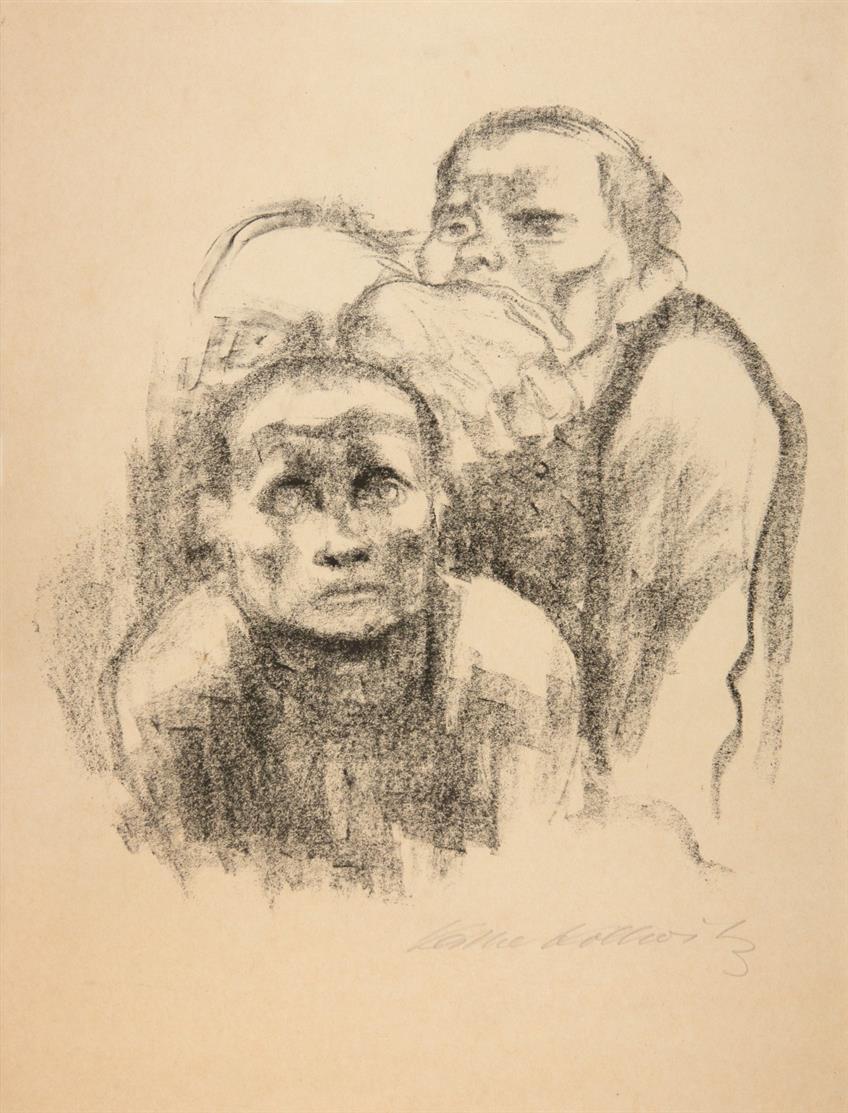 Käthe Kollwitz. Gefangene, Musik hörend. 1925. Kreidelithographie. Signiert. Von dem Knesebeck 223 III.