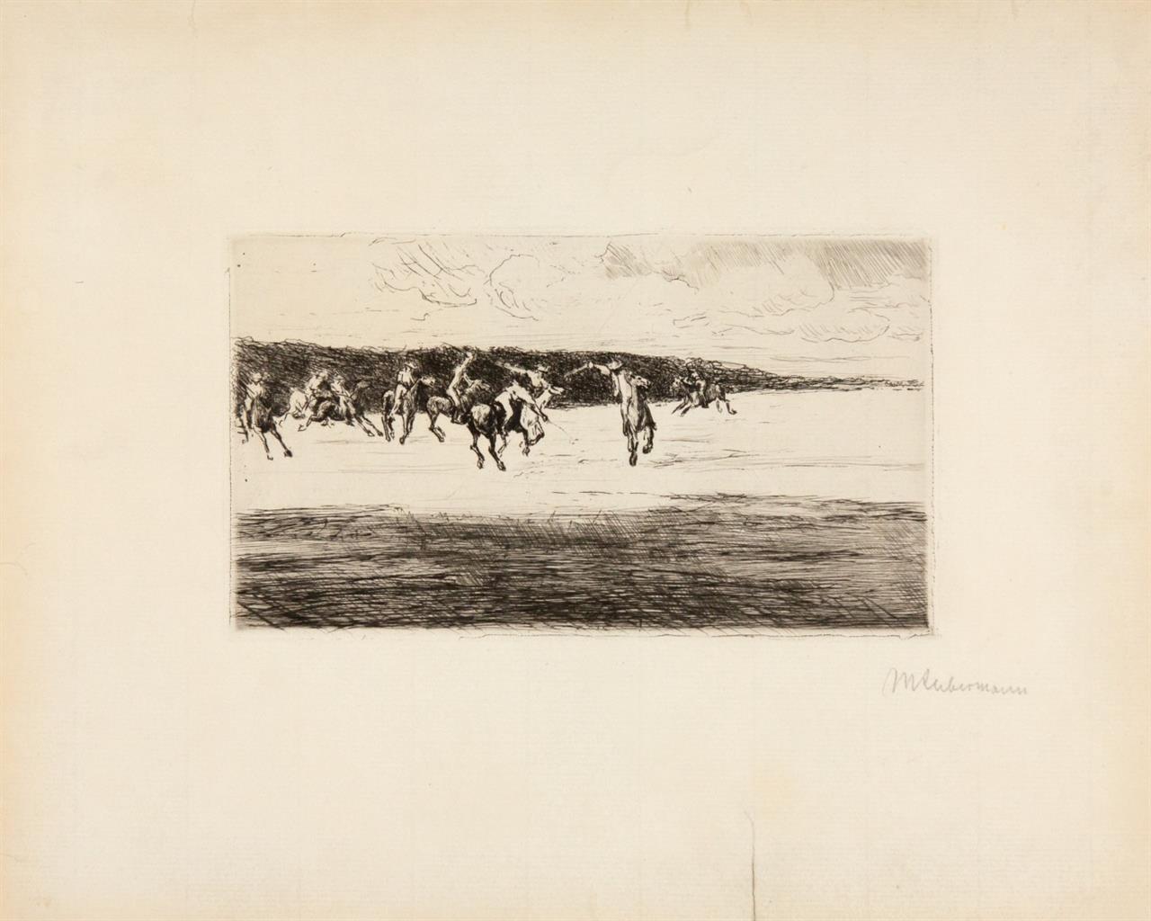 Max Liebermann. Polospiel. 1907. Kaltnadelradierung. Signiert. Schiefler 68 III.