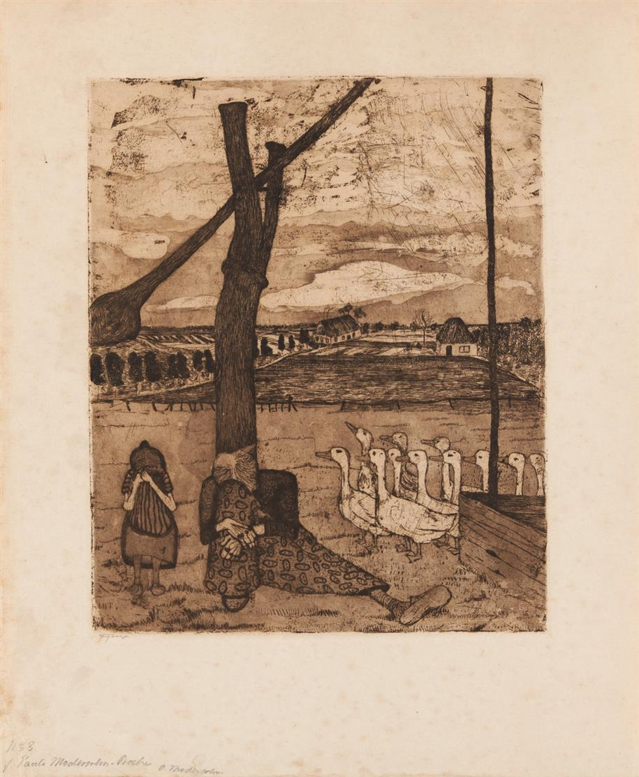Paula Modersohn-Becker. Gänsemagd. (Um 1900). Radierung und Aquatinta. Von O. Modersohn signiert.