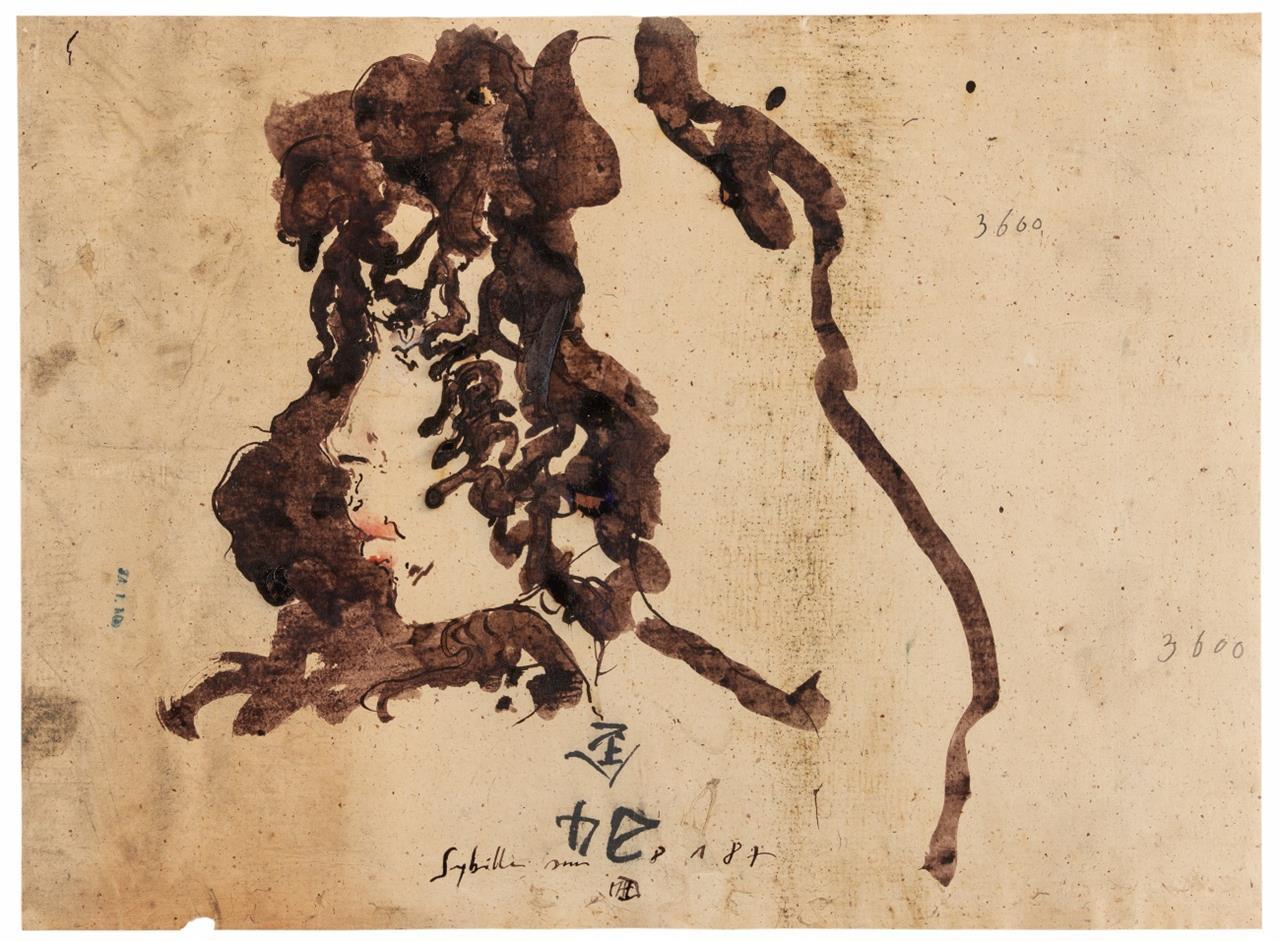 Horst Janssen. Sybille (Porträt Sibylle Berg). 8.1.87. Mischtechnik mit Aquarell, Asphaltlack und etwas Bleistift. Signiert und datiert. + Postkarte.