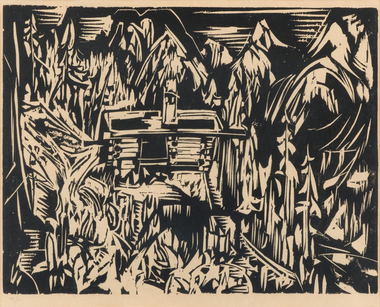 Albert Müller. Lärchenhüsli. 1925 (1968). Holzschnitt. Posthumer Abzug. Nachlassstempel.