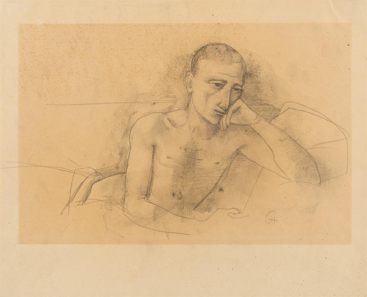 Karl Hofer. Ohne Titel (Liegender Jüngling mit aufgestütztem Arm). Bleistift. Monogrammiert.