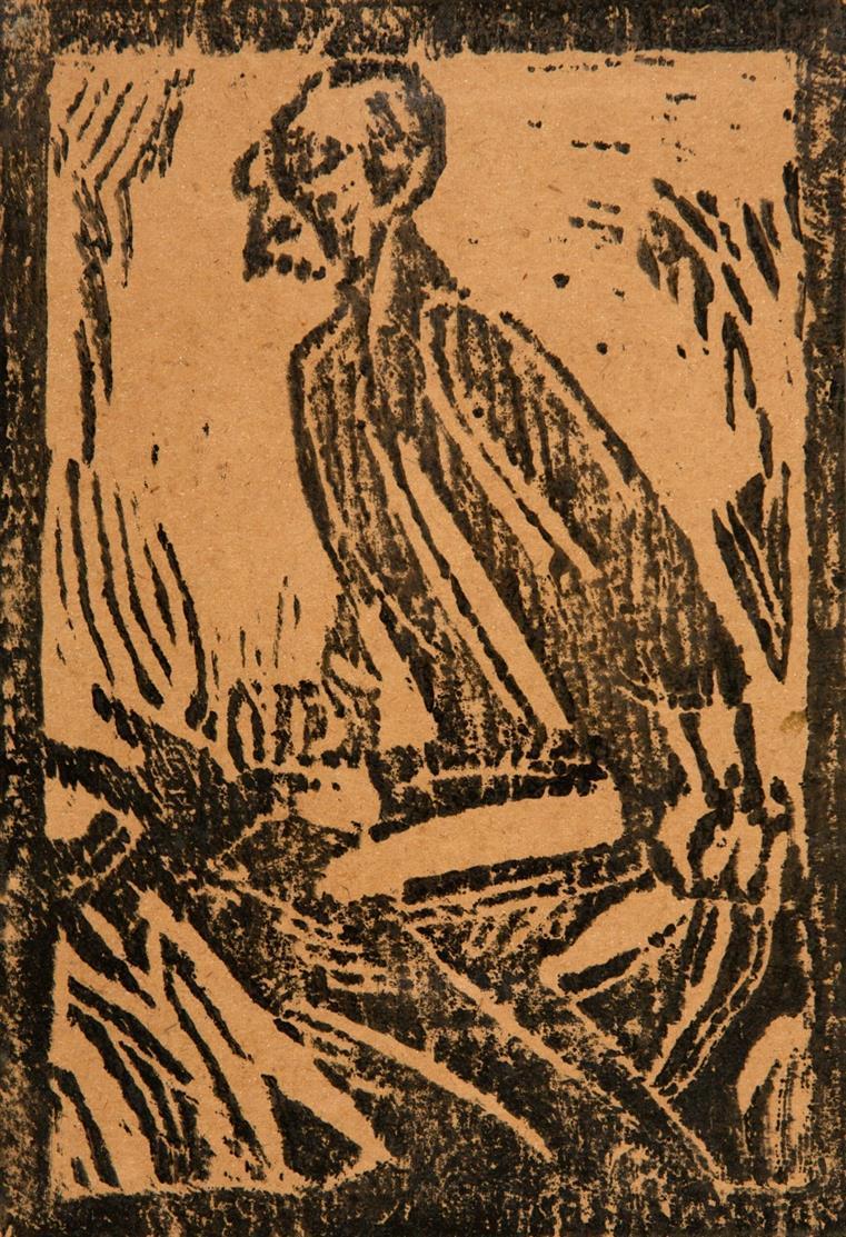 Christian Rohlfs. Elias mit dem Raben II, groß (Elias i.d. Wüste). Um 1915/16. Holzschnitt. Vogt 92; Utermann 129.