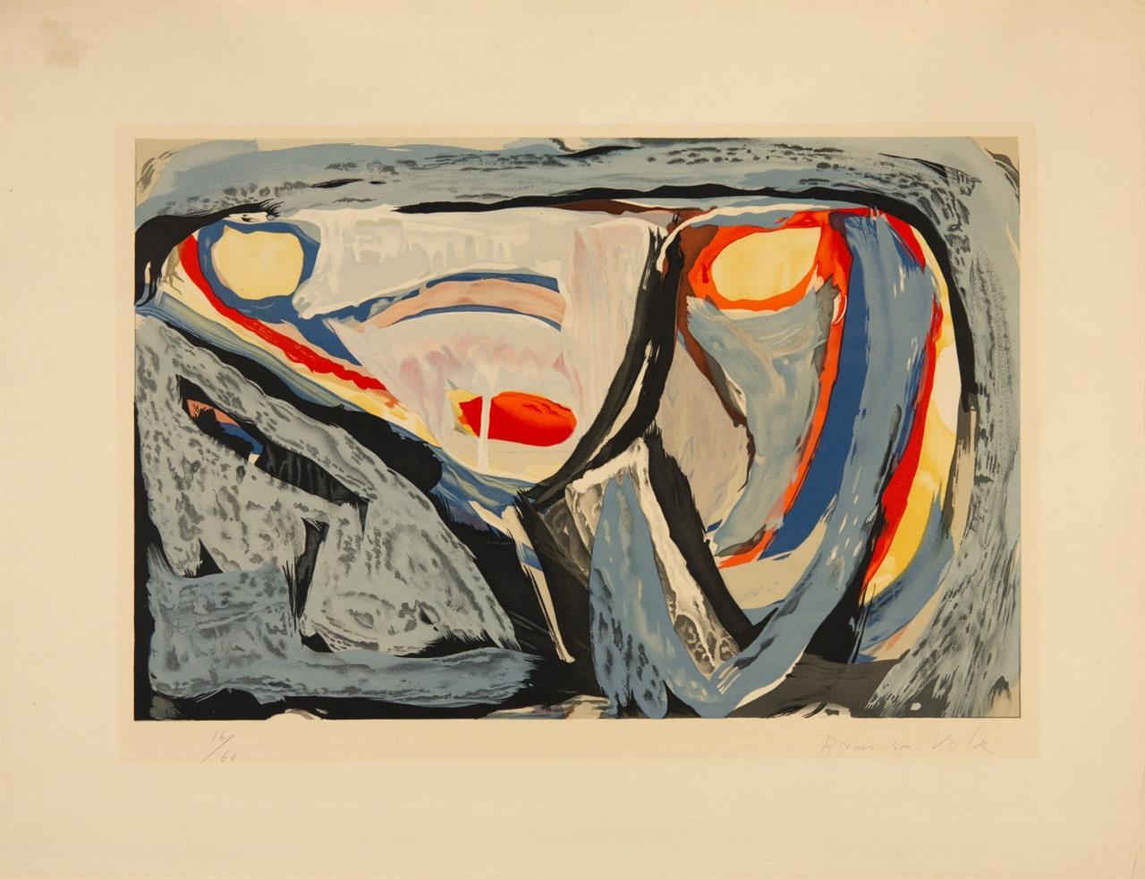Bram van Velde. Ohne Titel. 1962. Farblithographie. Signiert. Ex. 16/60. Rivière 14.