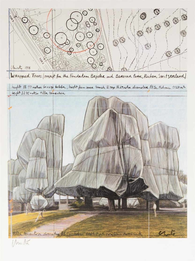 Christo. Wrapped trees. 1998. Farboffsetdruck. Signiert.