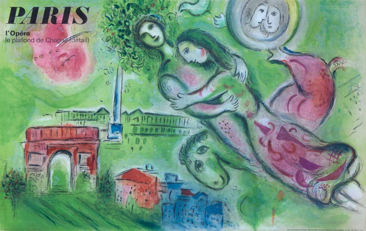 Marc Chagall. Paris l'Opéra. 1965. Farblithographie. Plakat von Ch. Sorlier, bei Mourlot.