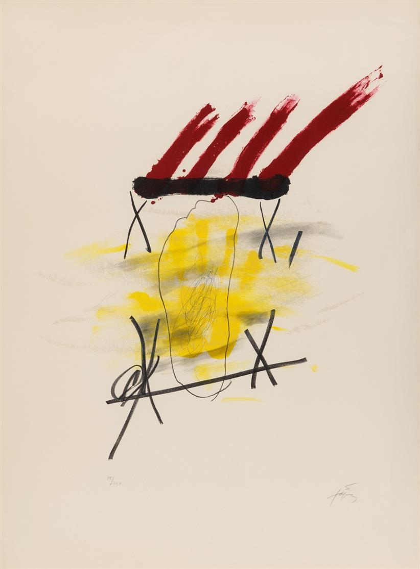 Antoni Tàpies. La main jaune. 1973. Farblithographie. Signiert. Ex. 78/200. Galfetti 347.