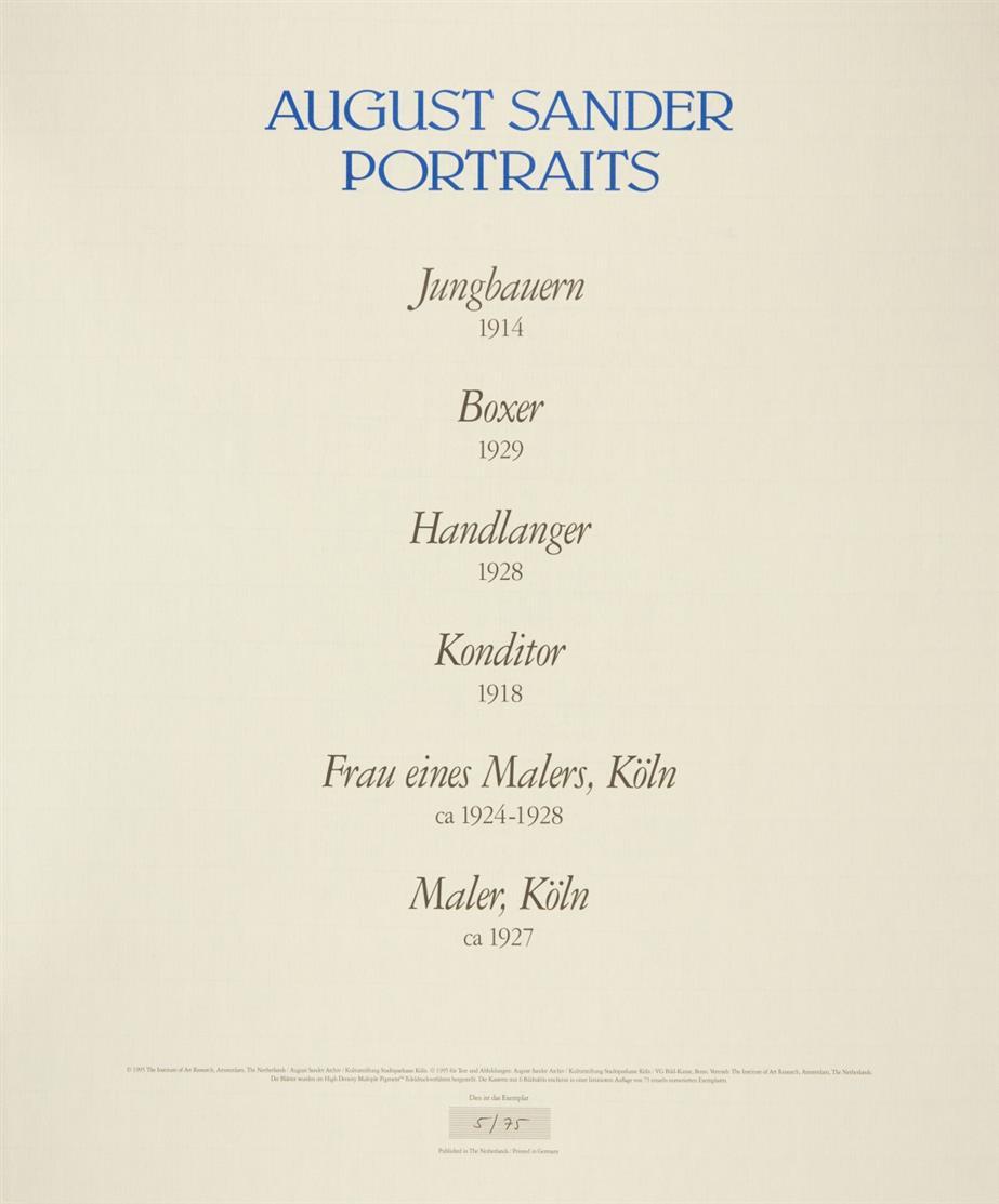 August Sander. Portraits. 1995. 6 Blatt posthume Pigmentdrucke in OrLeinenmappe. Ex. 5/75.