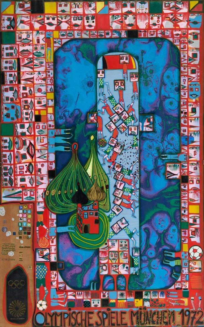 Friedensreich Hundertwasser. Olympische Spiele. Farbserigraphie. Ex. 758/3999. Koschatzky 54.