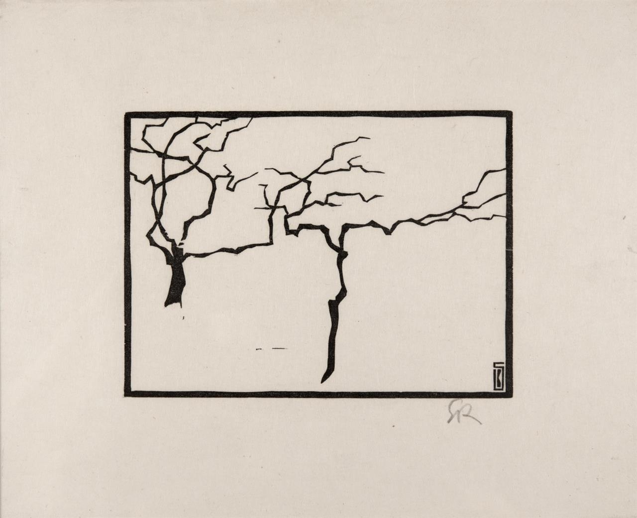 Karl Schmidt-Rottluff. Bäume im Winter. 1905/1975. Holzschnitt. Monogrammiert.