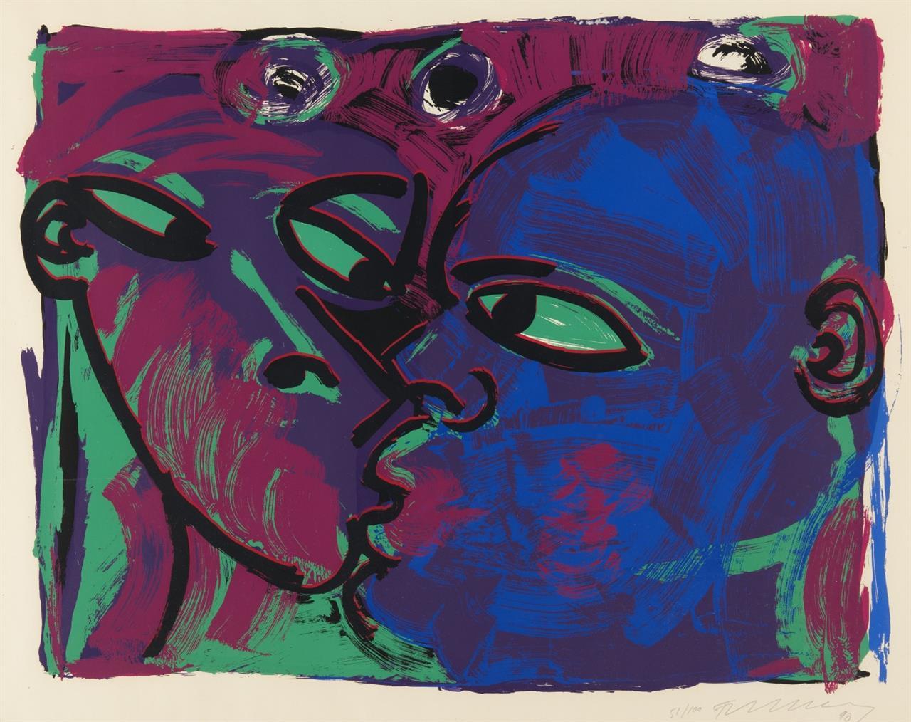 Rainer Fetting. Der Kuss. 1990. Farbserigraphie. Signiert. Ex. 51/100.