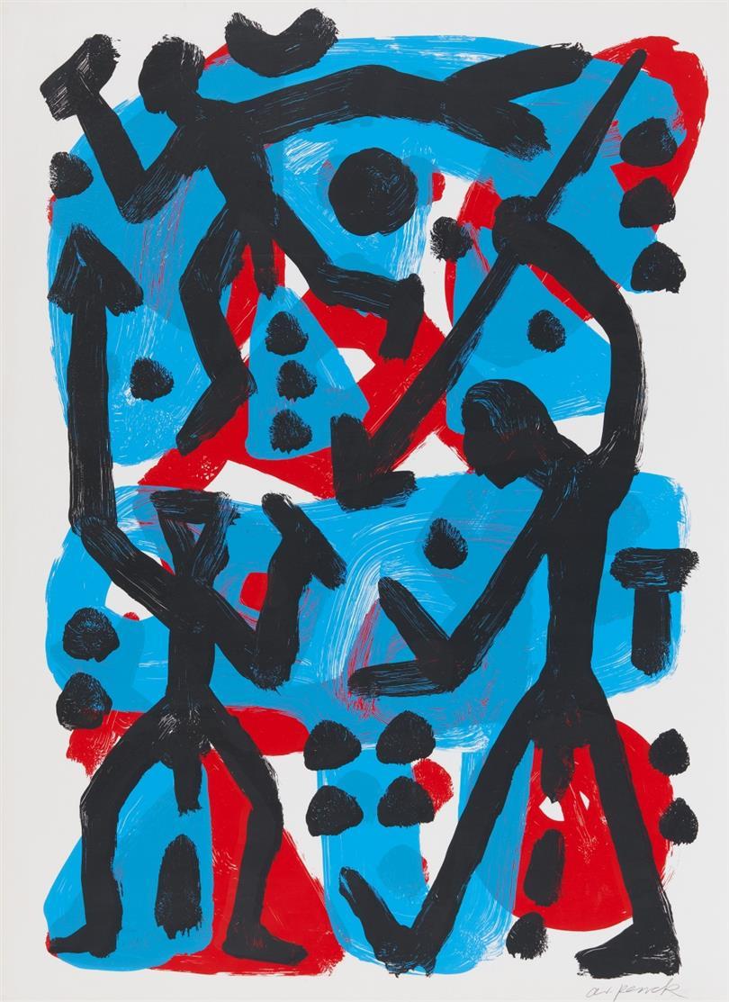 A.R. Penck. Ohne Titel. Farbserigraphie. Signiert.