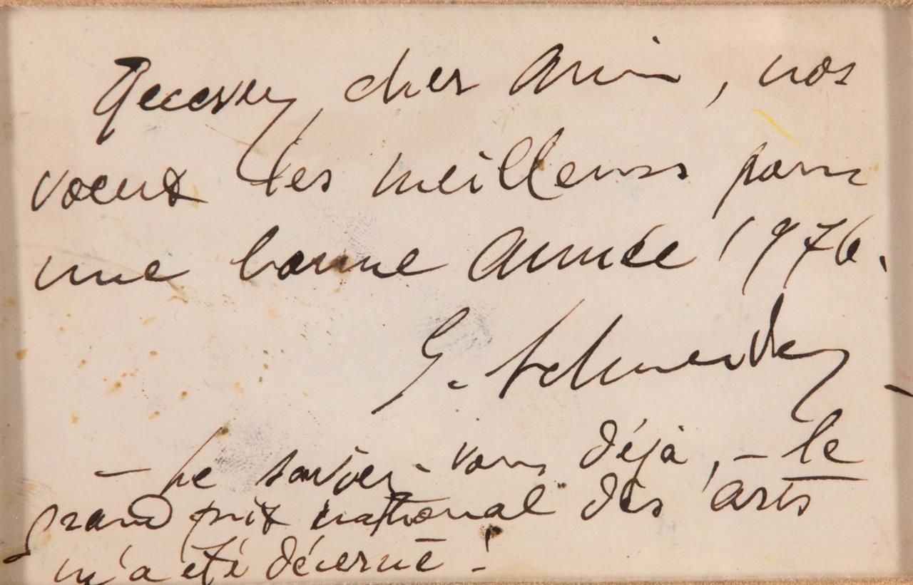 Gérard Schneider. Ohne Titel. Farbkreide und Tusche. Verso mit hs.Text. Signiert.