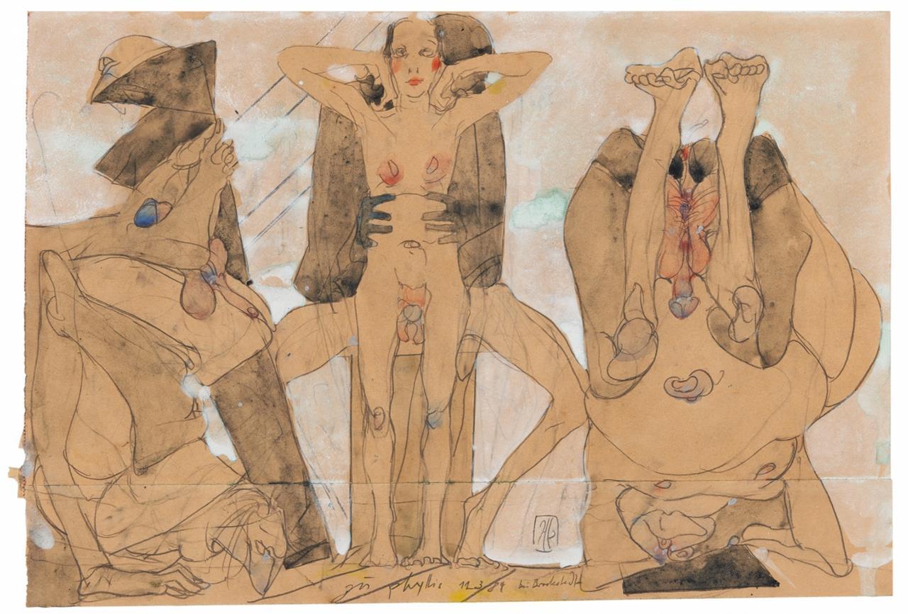 Horst Janssen. Zu Phyllis 12.3.84 bei Brockstedt. 1984. Bleistift, Aquarell und Gouache. Signiert.