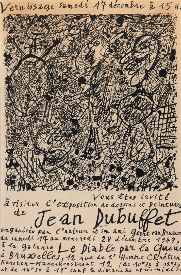 Jean Dubuffet. Affiche-invitation. Le diable par la queue. Photolithographie. Webel 291.