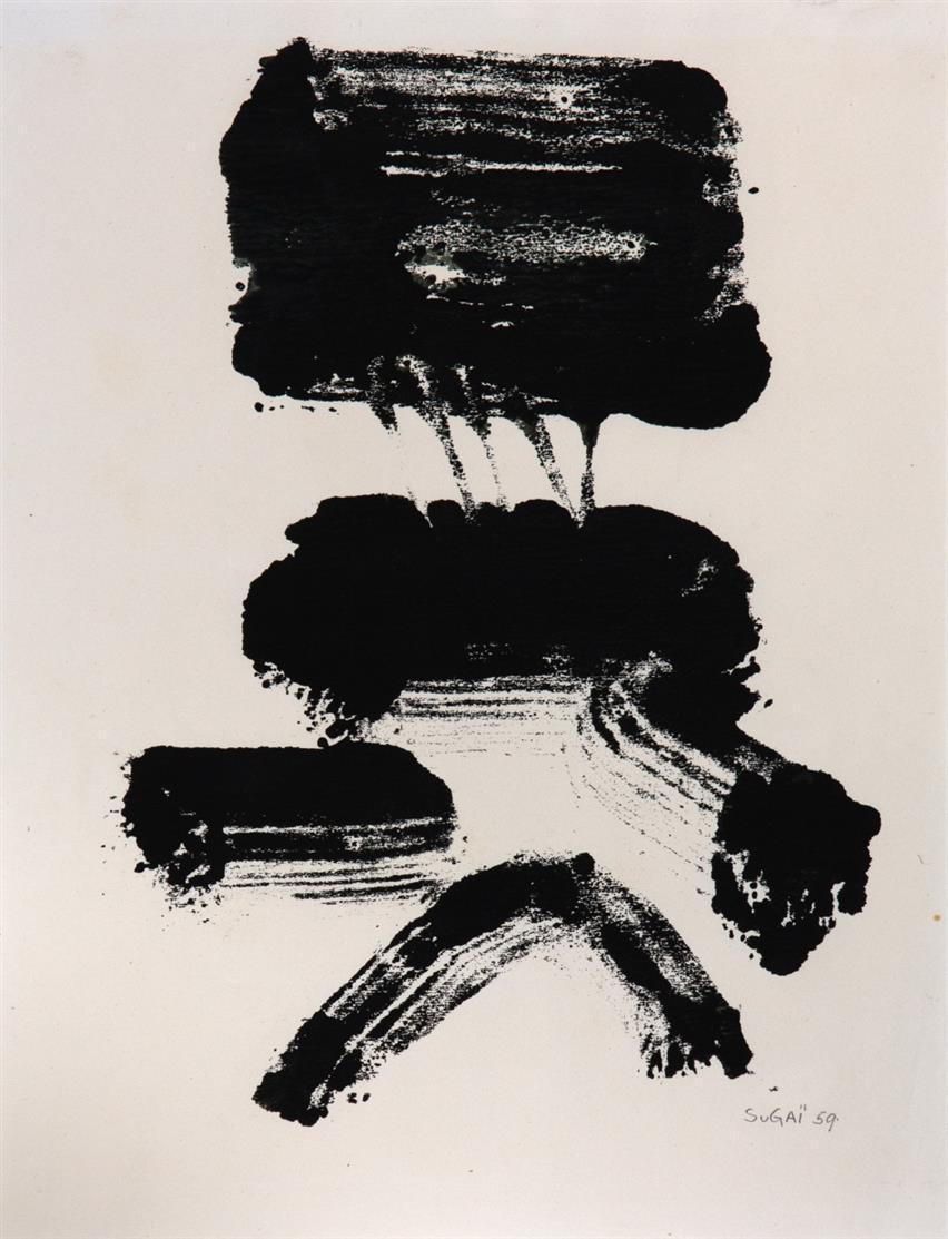 Kumi Sugai. Ohne Titel. (1959). Monotypie. Signiert.