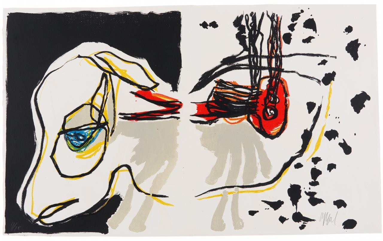 Karel Appel. Zu: A beast-drawn man. Um 1963. Folge von 7 Blatt Farblithographien. Jeweils signiert. Ex. 17/75.