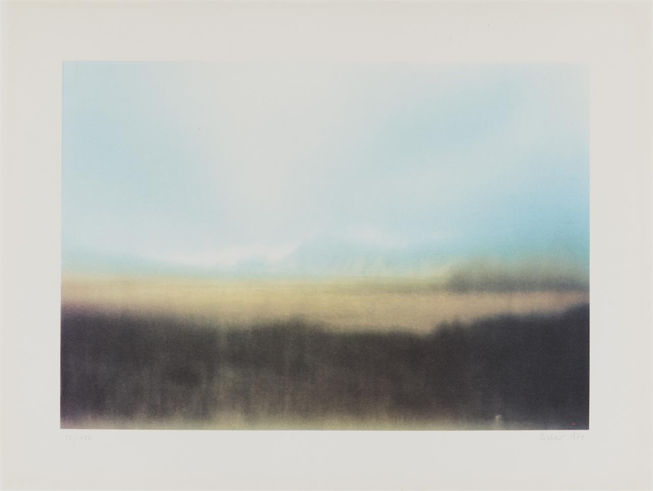 Gerhard Richter. Teydelandschaft. 1971. Farboffset. Signiert. Ex. 22/150. Butin 41. (Farbvariante ohne Rot)