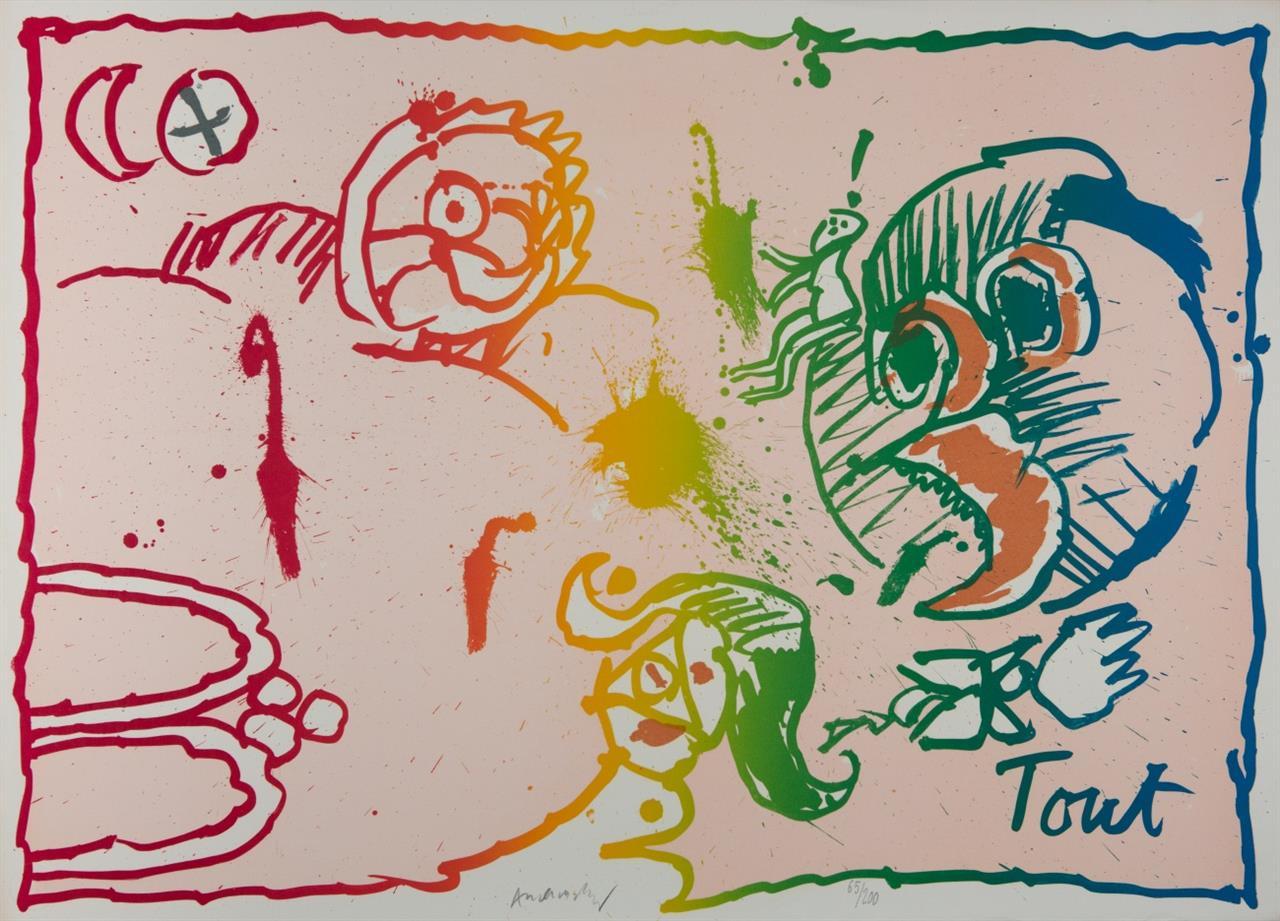 Pierre Alechinsky. Rien / Tout. 1971. 2 Blatt Farblithographien. Je signiert. Ex. 148/200 bzw. 65/200. Rivière 476 und 477.
