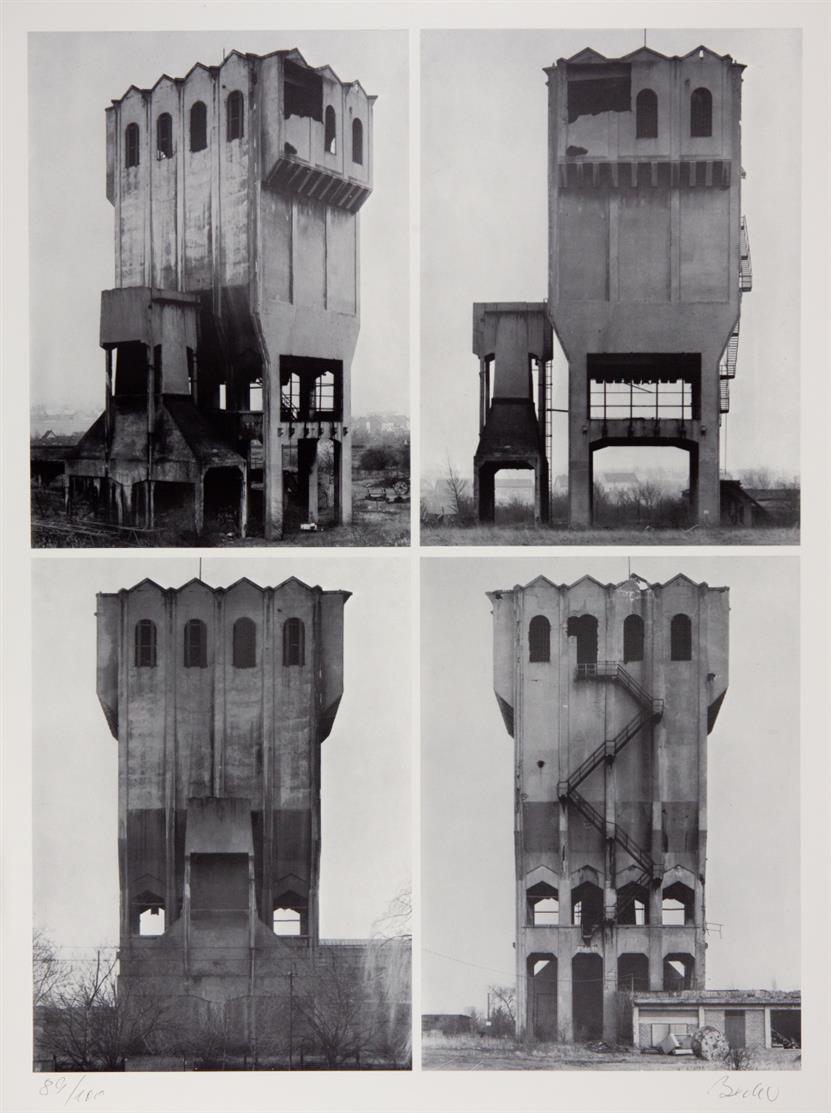 Bernd u. Hilla Becher. Vier Ansichten eines Silos. (1970). Offset. Signiert. Ex. 89/100.