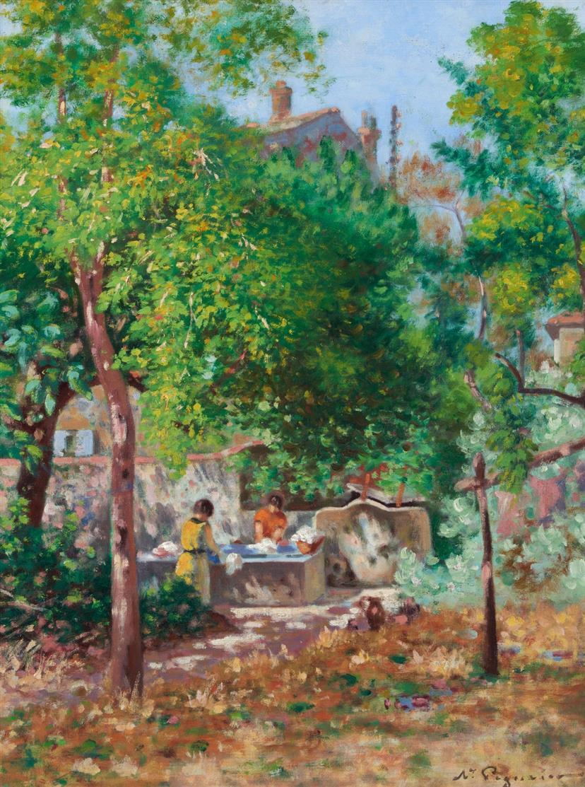 Auguste Pegurier. Les Lavandières. (1926). Öl. Signiert.