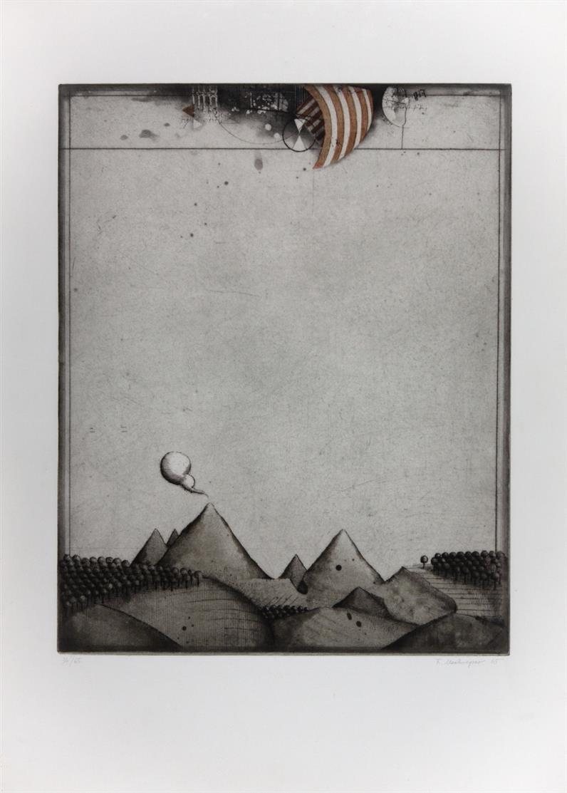 Friedrich Meckseper. Landschaft. 1965. Farbradierung. Signiert. Ex. 34/65. Schmücking 66.