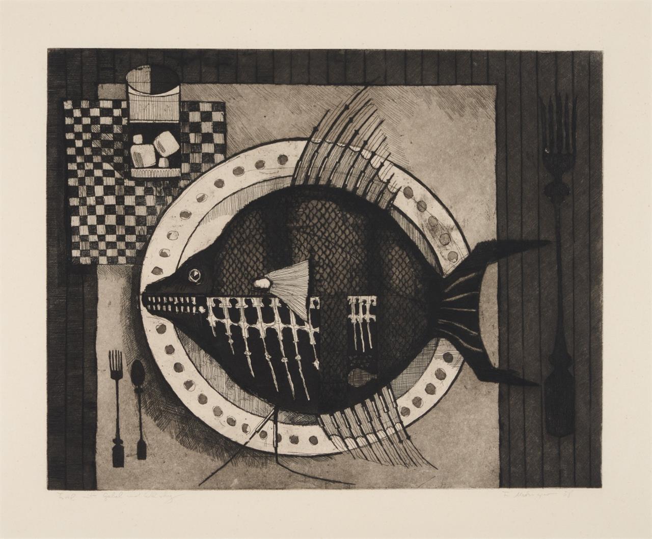 Friedrich Meckseper. Fisch mit Gabel und Whisky. 1958. Radierung. Signiert. Schmücking 17.