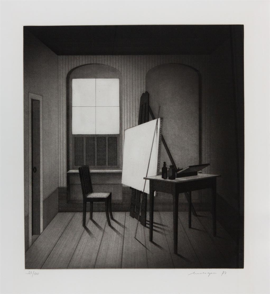 Friedrich Meckseper. Atelier. 1974. Radierung. Signiert. Ex. 33/100. Schmücking 161.