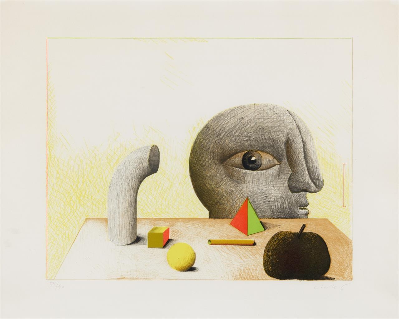 Horst Antes. Stillleben mit Kopf. 1970. Farblithographie. Signiert. Ex. 54/90. L.641(2).