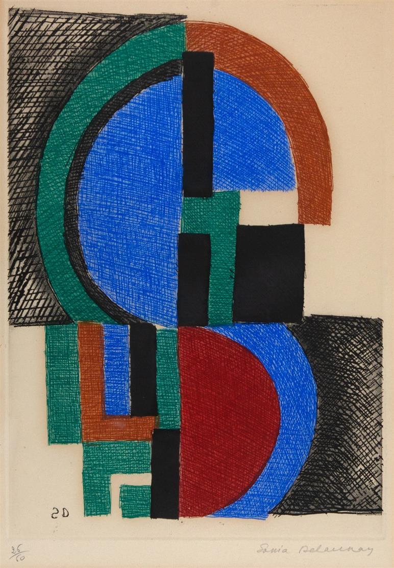Sonia Delaunay. Komposition. Farbradierung. Signiert. Ex. 25/60.