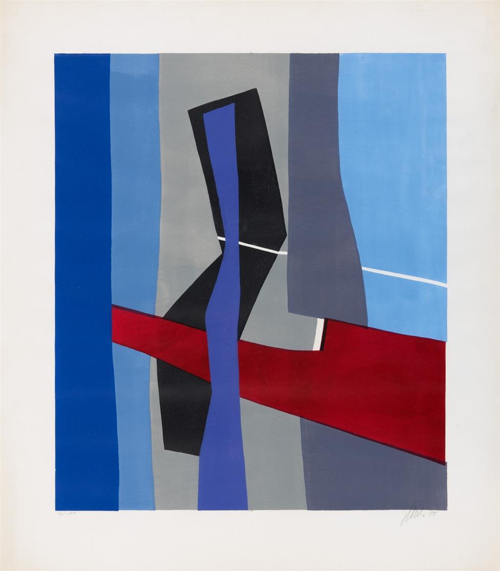 Fritz Winter. Mit weißer Linie. 1970. Farblithographie. Signiert. Ex. 26/100.