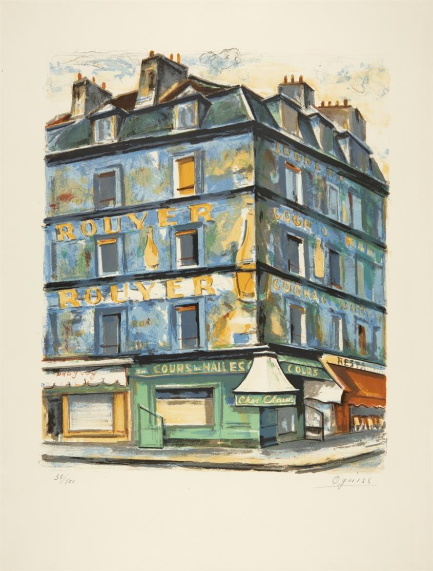 Takanori Oguiss. Maison Bleue. 1970. Farblithographie. Signiert. Ex. 35/100.