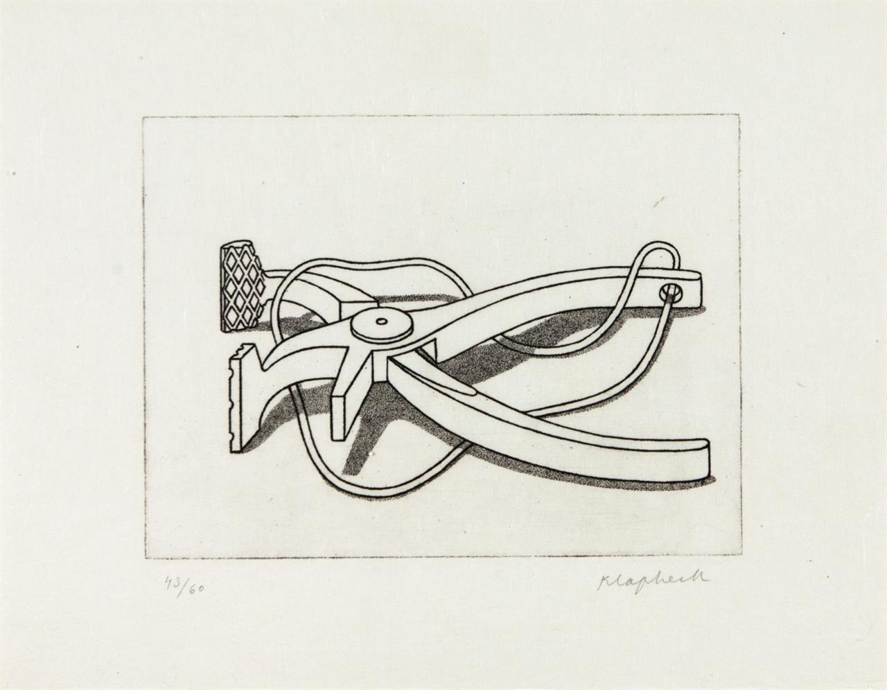 Konrad Klapheck. Auf der Lauer (Spannzange). 1979. Radierung. Signiert. Ex. 43/60. Wessolowski 30 D.